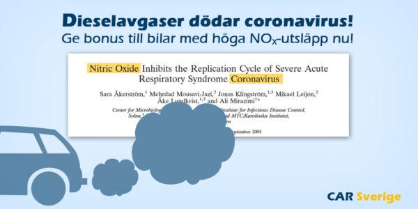 Kväveoxid (dieselavgaser) dödar Coronavirus. Bonus-Malus-systemet bör genast göras om till förmån för dieselbilar med höga utsläpp!