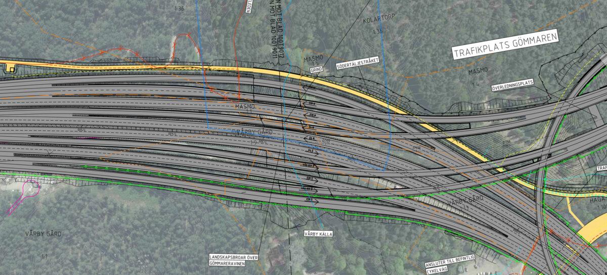 Illustrationskarta Trafikplats Gömmaren (14 körfält)